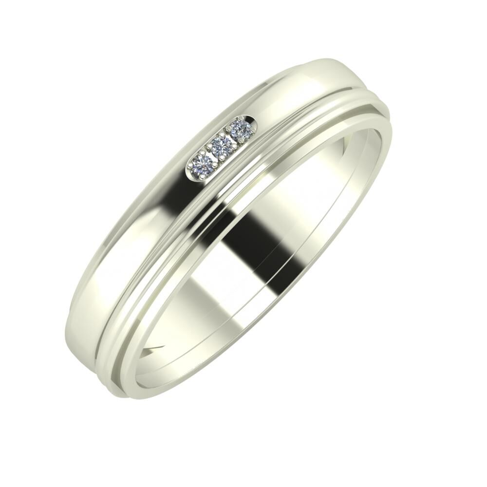 Aleszja - Ajra - Ájlin 5mm 18 karátos fehér arany karikagyűrű