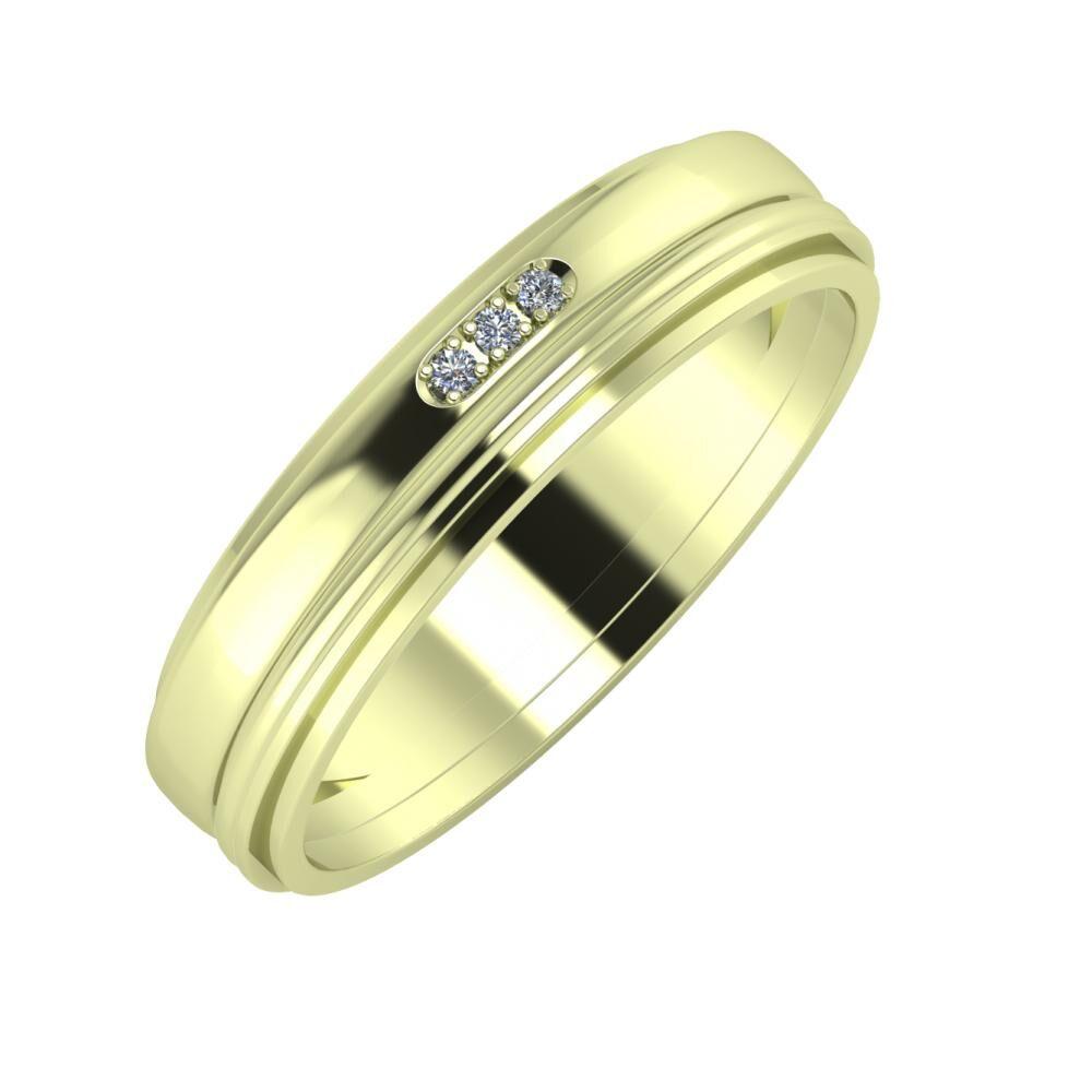 Aleszja - Ajra - Ájlin 5mm 14 karátos zöld arany karikagyűrű