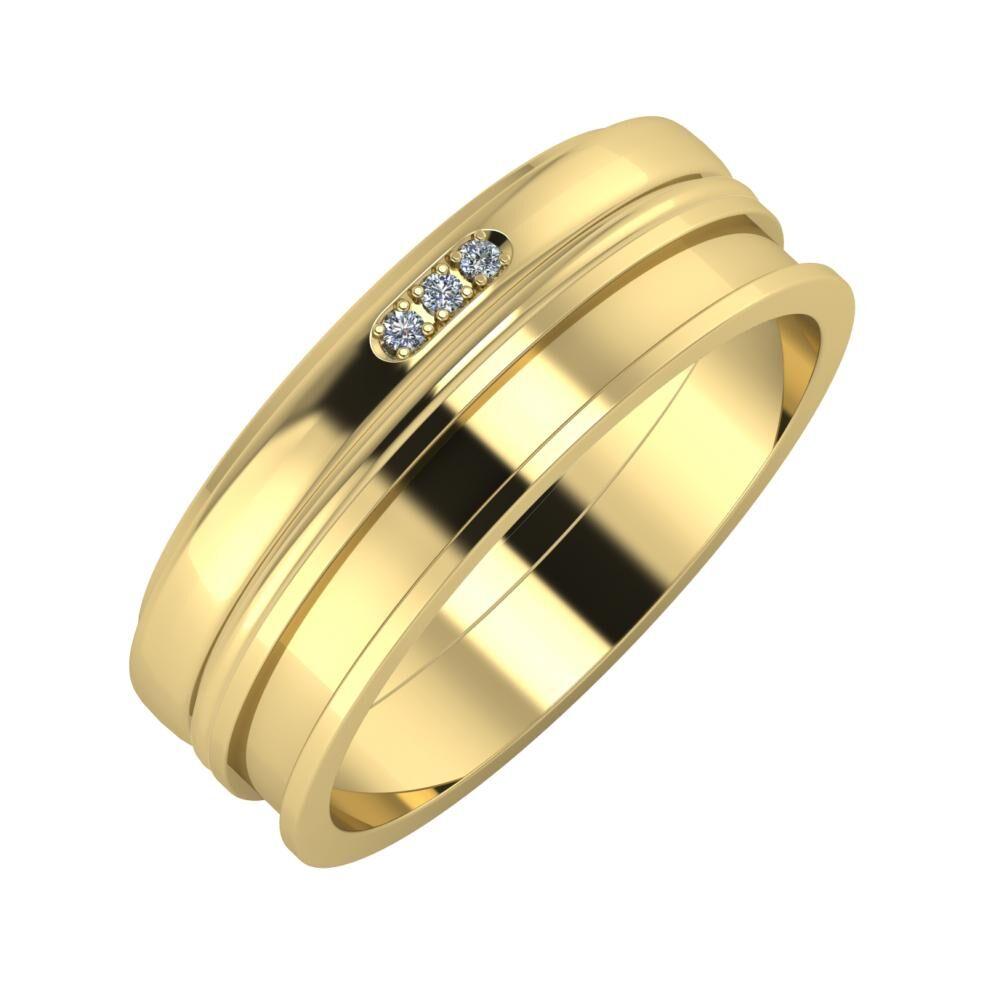 Aleszja - Ajra - Ajnácska 7mm 14 karátos sárga arany karikagyűrű