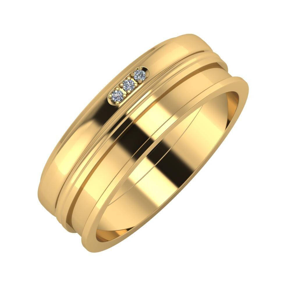 Aleszja - Ajra - Ajnácska 7mm 18 karátos sárga arany karikagyűrű