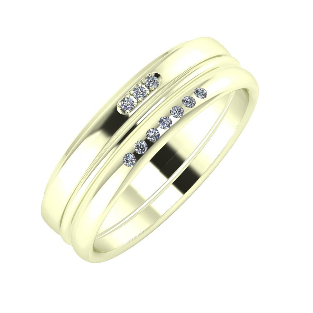 Aleszja - Ajra - Albertina 6mm 22 karátos fehér arany karikagyűrű