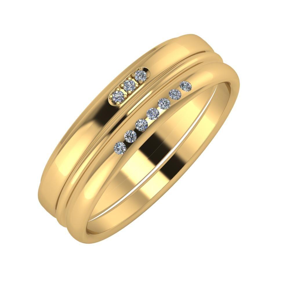 Aleszja - Ajra - Albertina 6mm 18 karátos sárga arany karikagyűrű