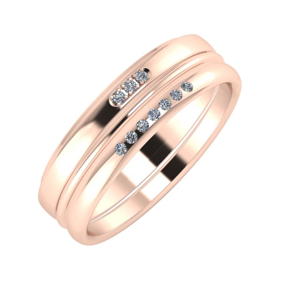 Aleszja - Ajra - Albertina 6mm 18 karátos rosé arany karikagyűrű