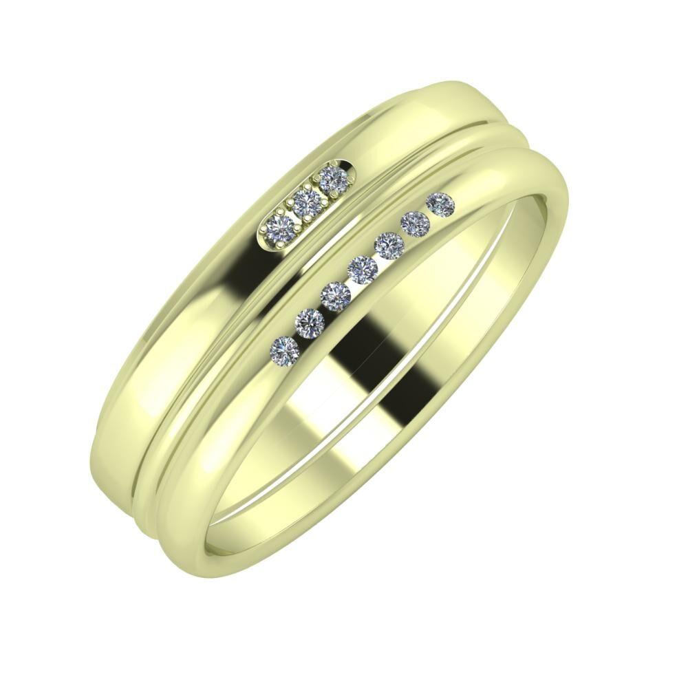 Aleszja - Ajra - Albertina 6mm 14 karátos zöld arany karikagyűrű