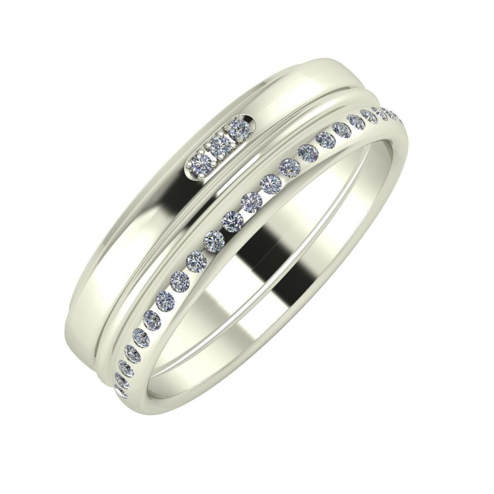 Aleszja - Ajra - Aldea 6mm 18 karátos fehér arany karikagyűrű