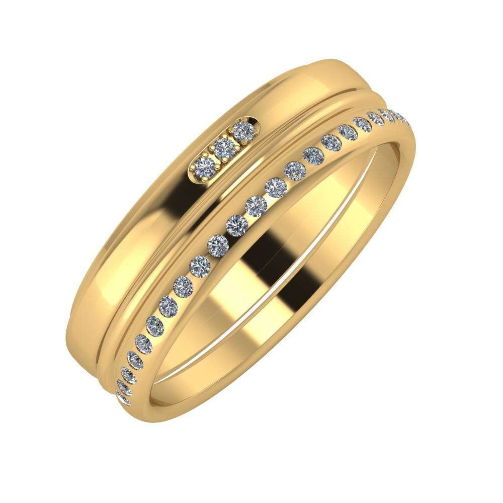Aleszja - Ajra - Aldea 6mm 22 karátos sárga arany karikagyűrű