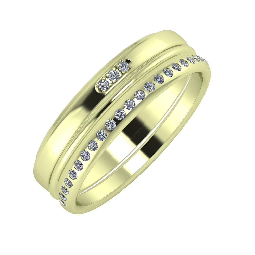 Aleszja - Ajra - Aldea 6mm 14 karátos zöld arany karikagyűrű