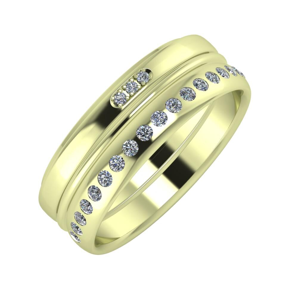Aleszja - Ajra - Aldea 7mm 14 karátos zöld arany karikagyűrű