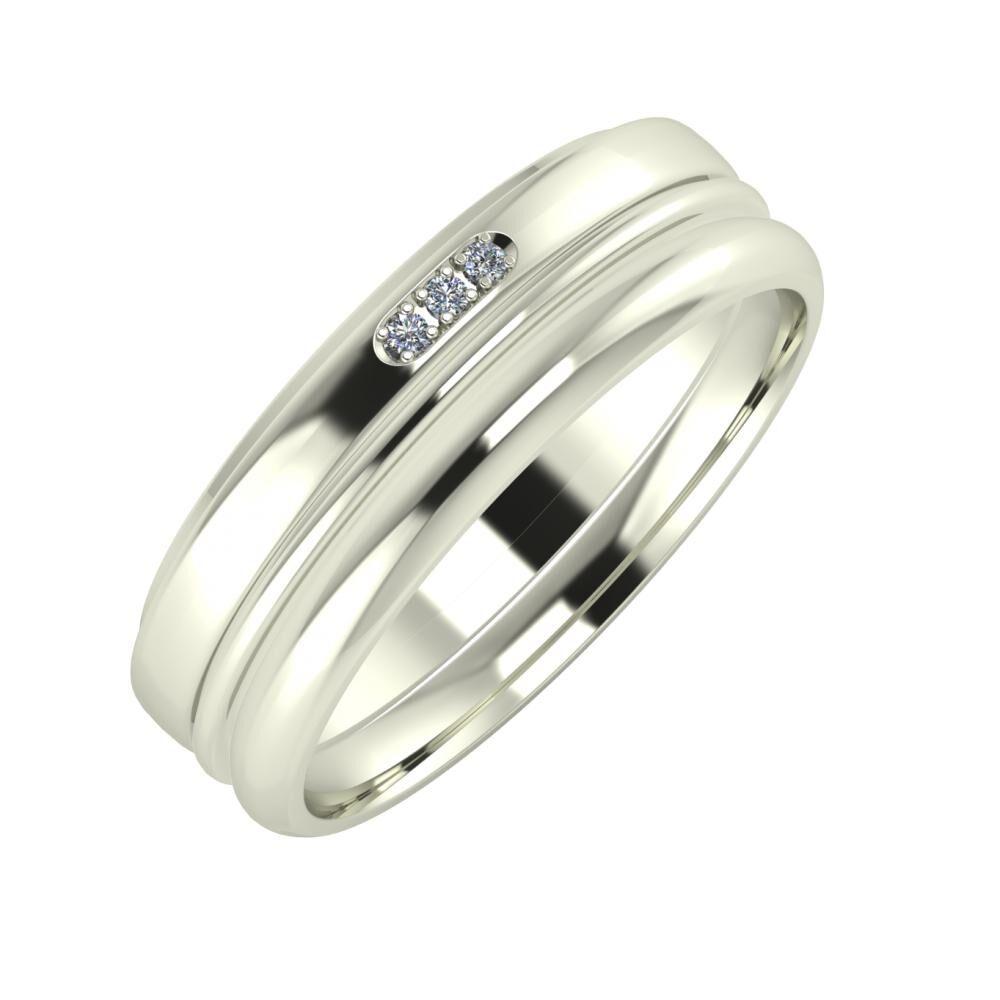Aleszja - Ajra - Alett 6mm 14 karátos fehér arany karikagyűrű