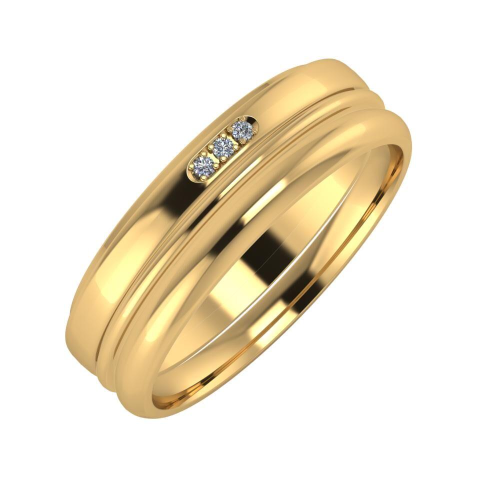 Aleszja - Ajra - Alett 6mm 22 karátos sárga arany karikagyűrű