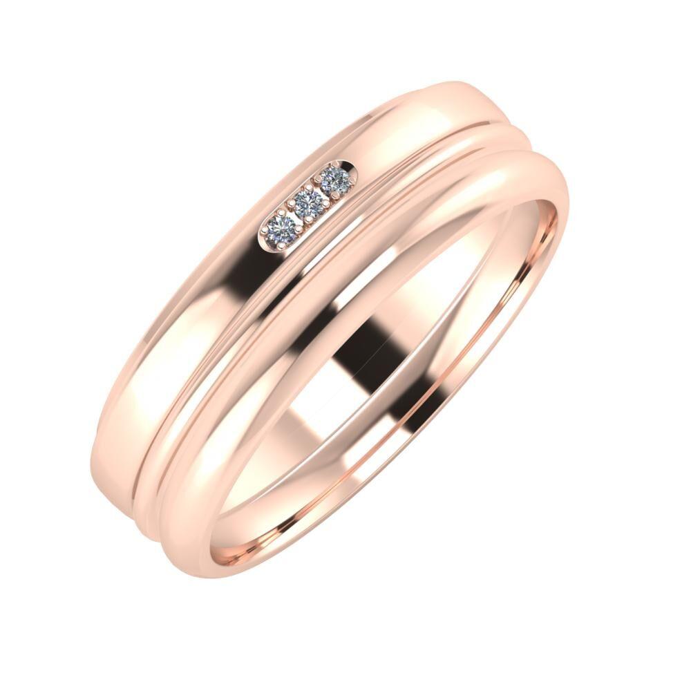 Aleszja - Ajra - Alett 6mm 18 karátos rosé arany karikagyűrű
