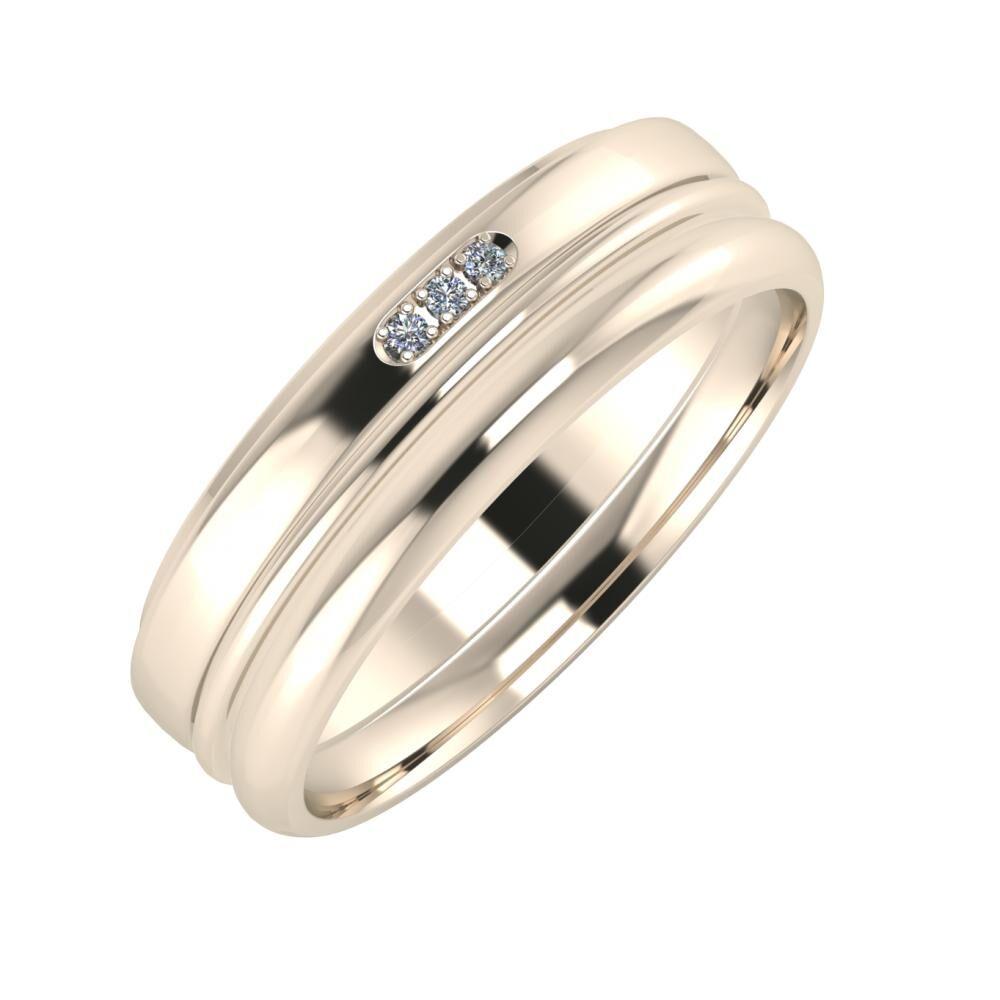 Aleszja - Ajra - Alett 6mm 22 karátos rosé arany karikagyűrű