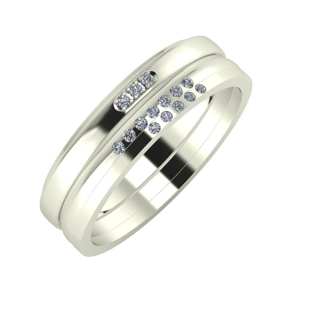 Aleszja - Albertina - Adelgunda 6mm 14 karátos fehér arany karikagyűrű