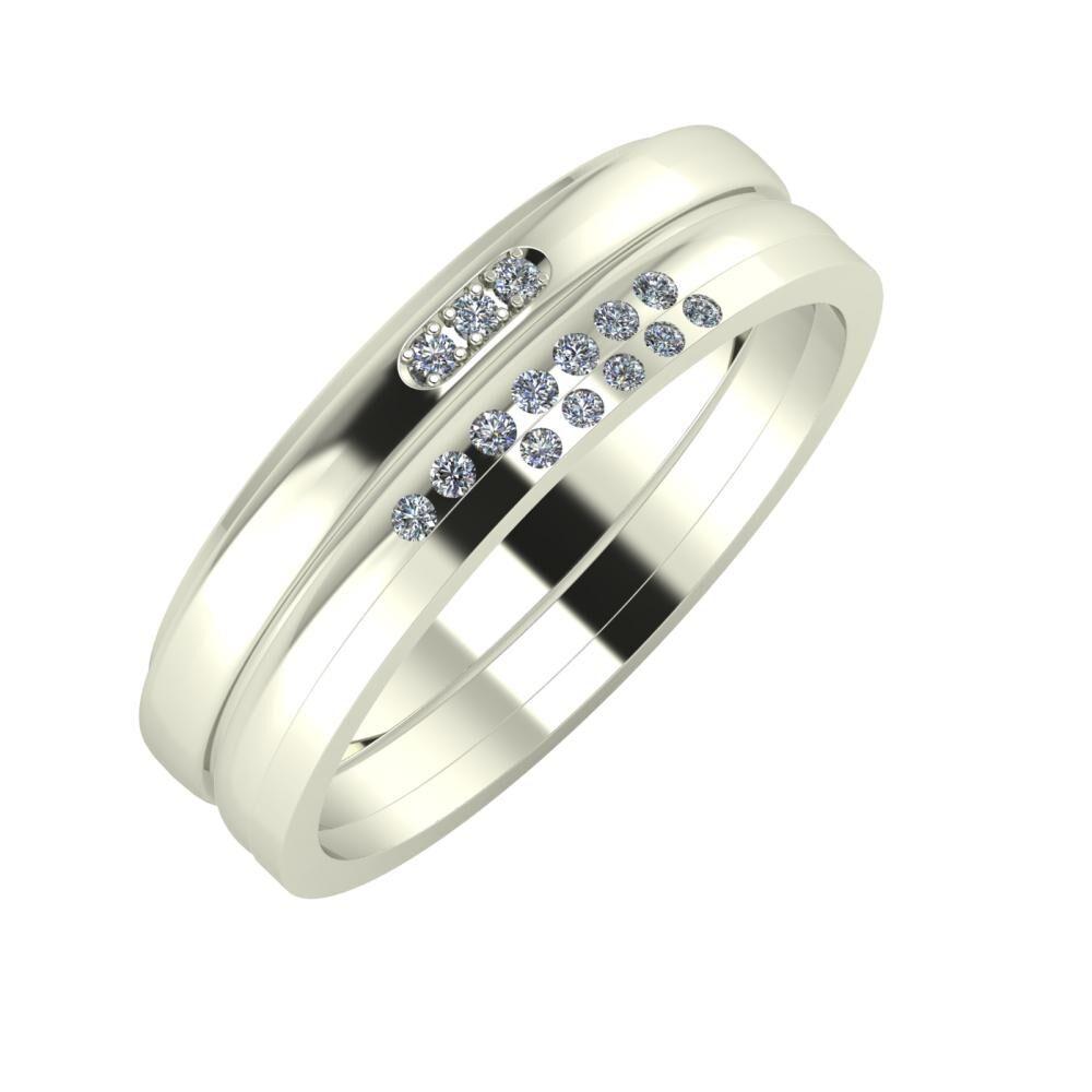 Aleszja - Albertina - Adelgunda 6mm 18 karátos fehér arany karikagyűrű