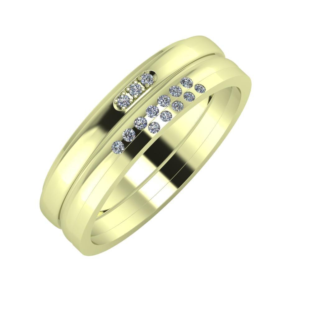 Aleszja - Albertina - Adelgunda 6mm 14 karátos zöld arany karikagyűrű