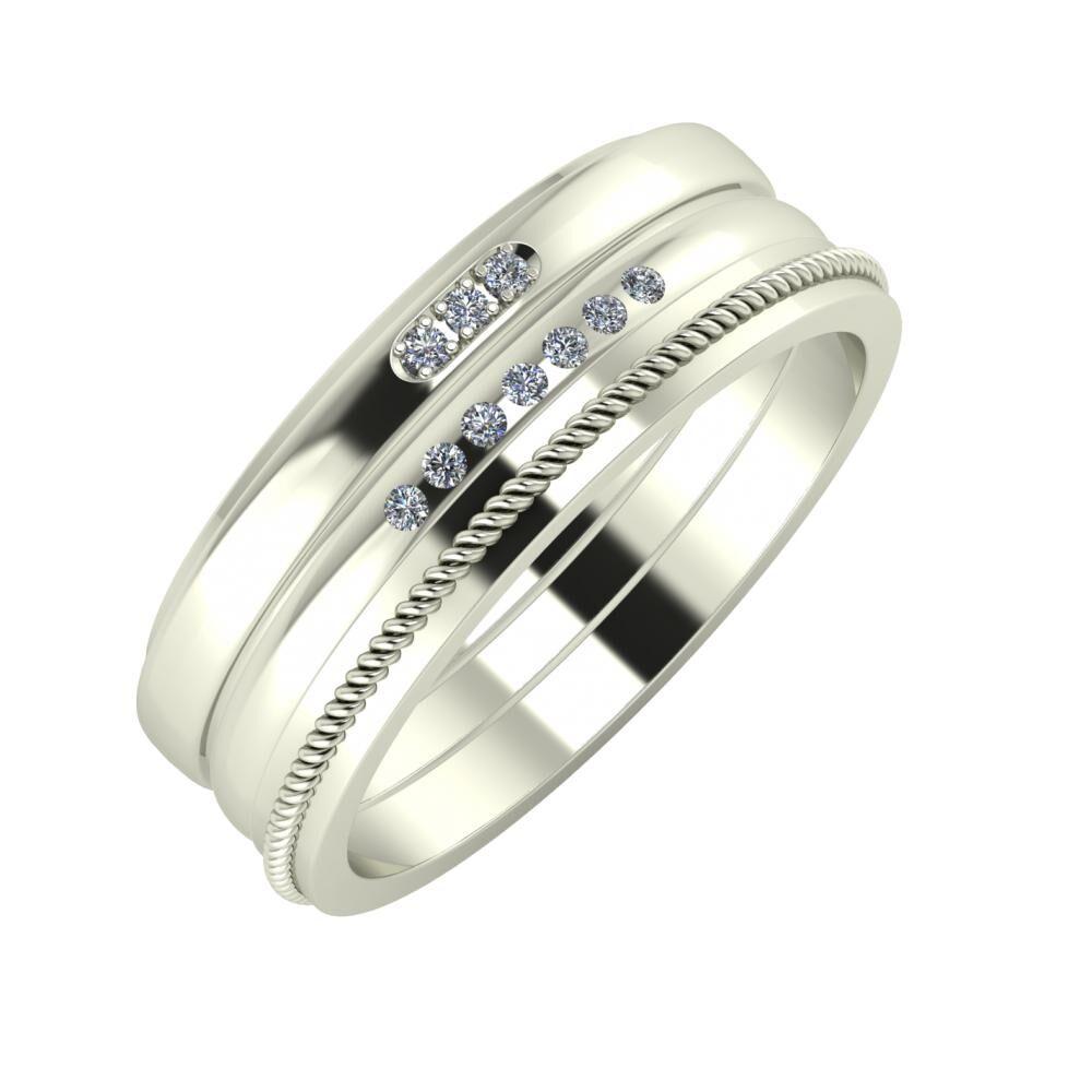 Aleszja - Albertina - Afrodité 7mm 14 karátos fehér arany karikagyűrű