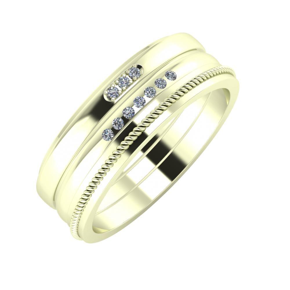 Aleszja - Albertina - Afrodité 7mm 22 karátos fehér arany karikagyűrű