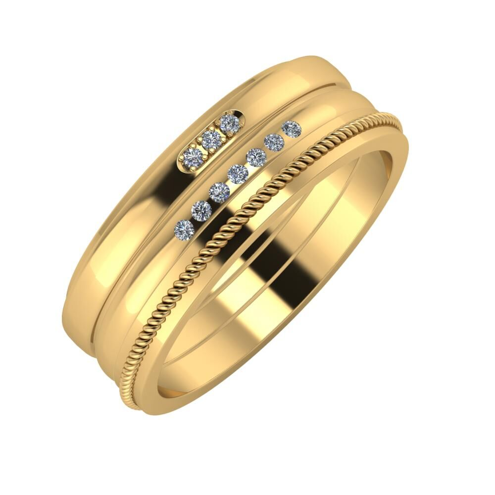 Aleszja - Albertina - Afrodité 7mm 18 karátos sárga arany karikagyűrű