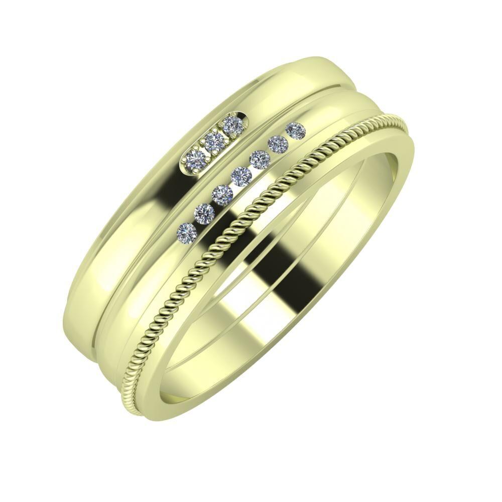 Aleszja - Albertina - Afrodité 7mm 14 karátos zöld arany karikagyűrű