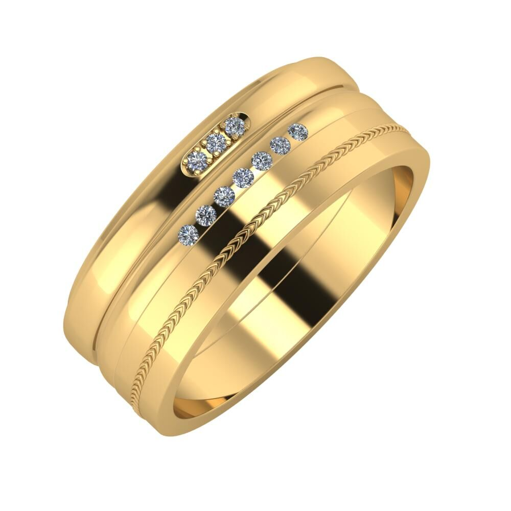 Aleszja - Albertina - Agáta 8mm 18 karátos sárga arany karikagyűrű