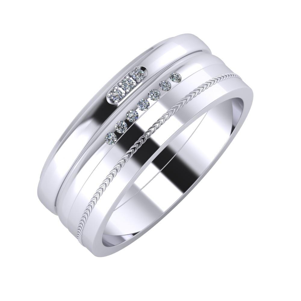 Aleszja - Albertina - Agáta 8mm platina karikagyűrű