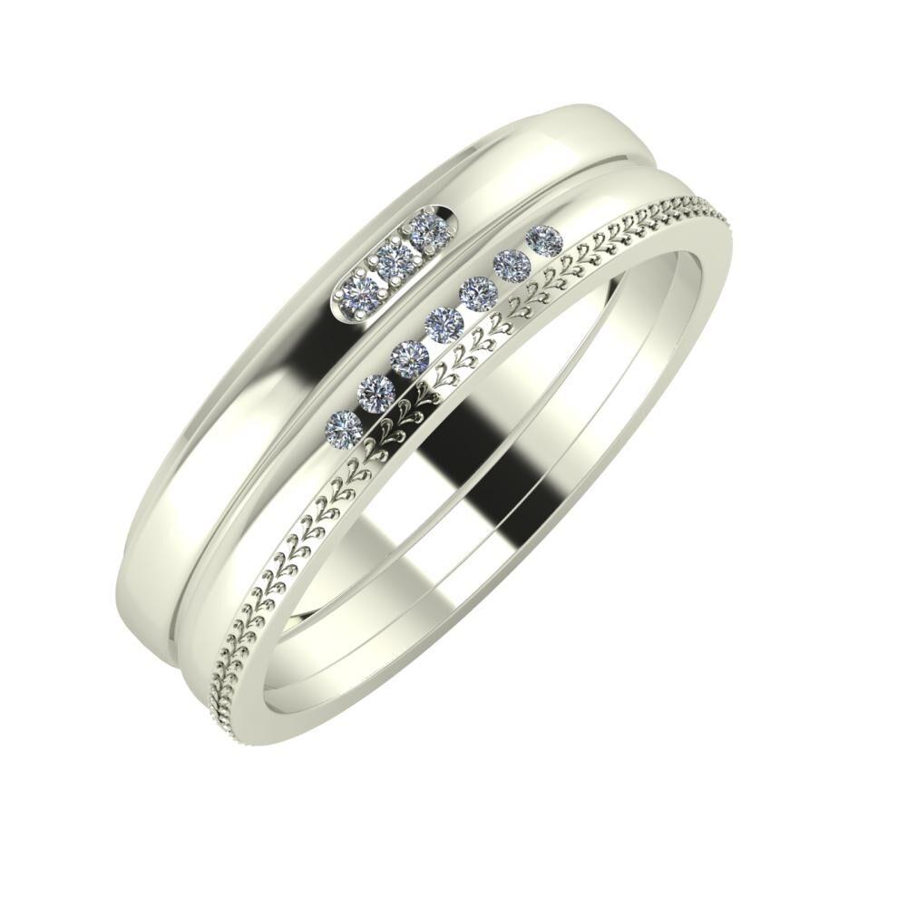 Aleszja - Albertina - Aglája 6mm 14 karátos fehér arany karikagyűrű