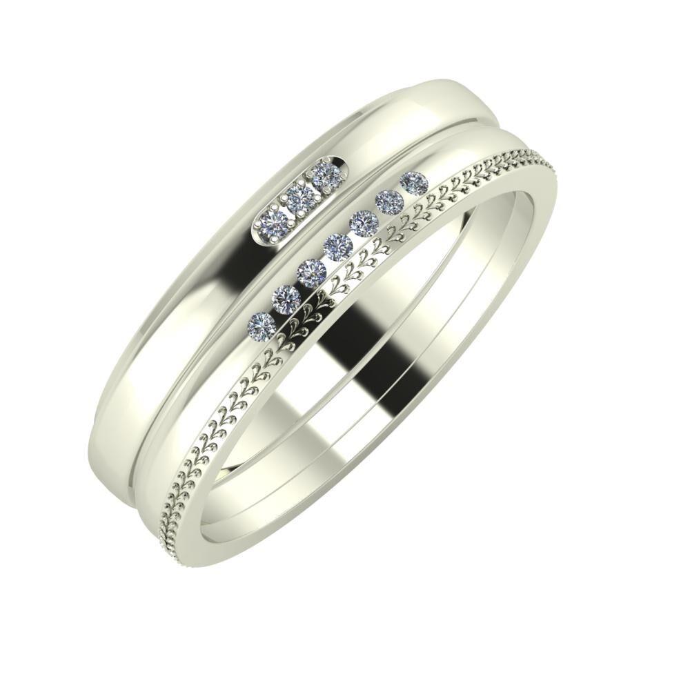 Aleszja - Albertina - Aglája 6mm 18 karátos fehér arany karikagyűrű