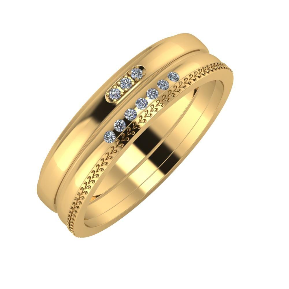 Aleszja - Albertina - Aglája 6mm 22 karátos sárga arany karikagyűrű