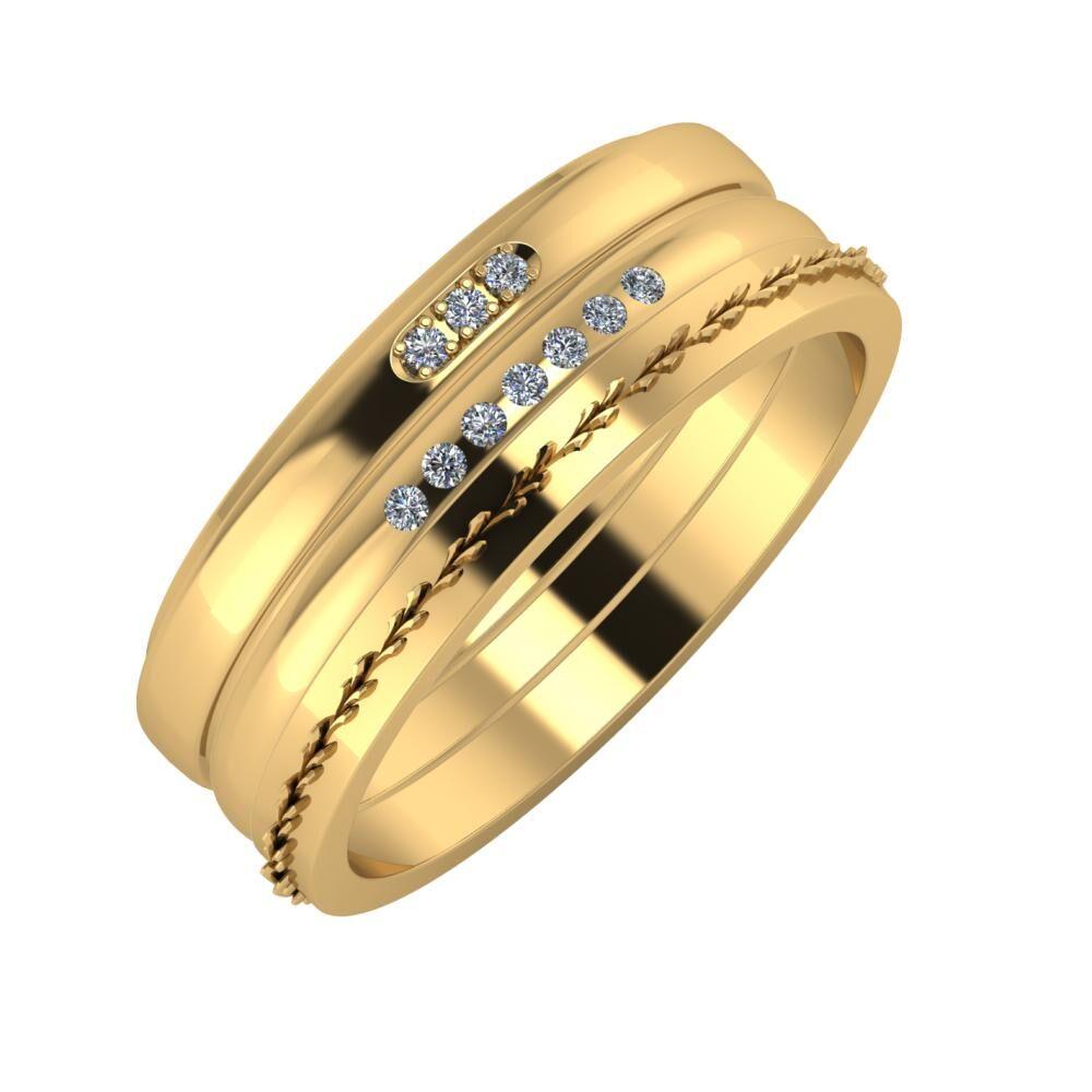 Aleszja - Albertina - Aglent 7mm 22 karátos sárga arany karikagyűrű
