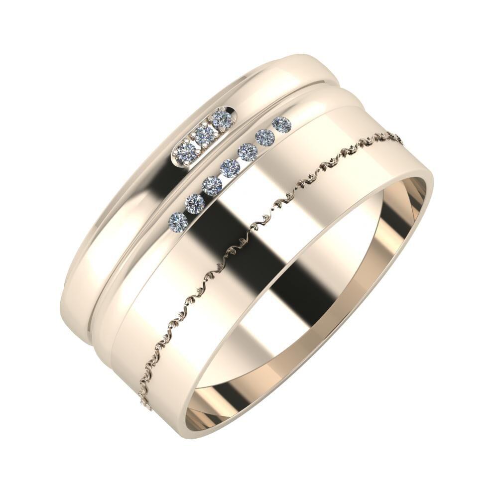 Aleszja - Albertina - Agnabella 10mm 22 karátos rosé arany karikagyűrű