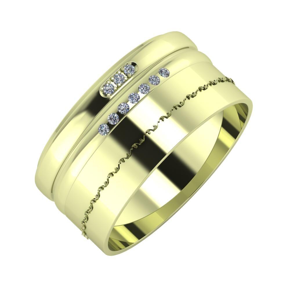 Aleszja - Albertina - Agnabella 10mm 14 karátos zöld arany karikagyűrű