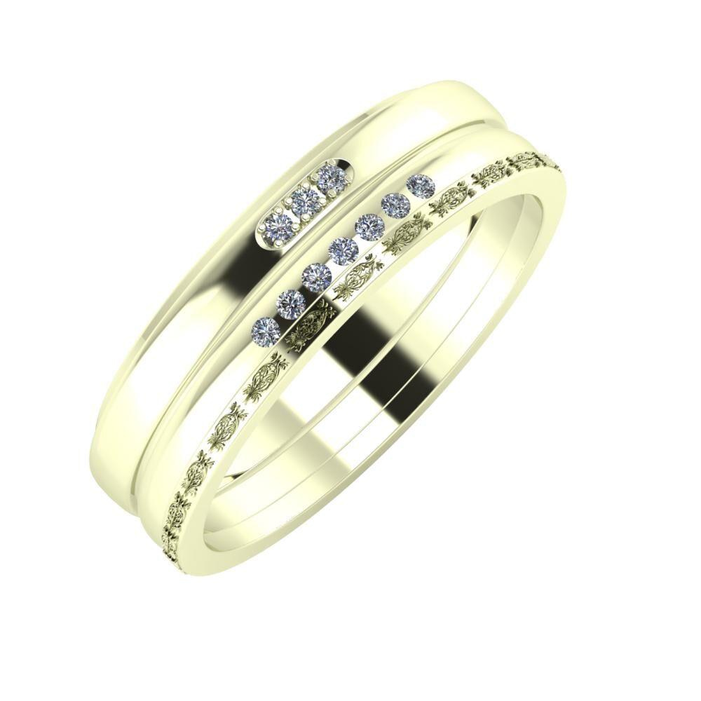 Aleszja - Albertina - Agnella 6mm 22 karátos fehér arany karikagyűrű