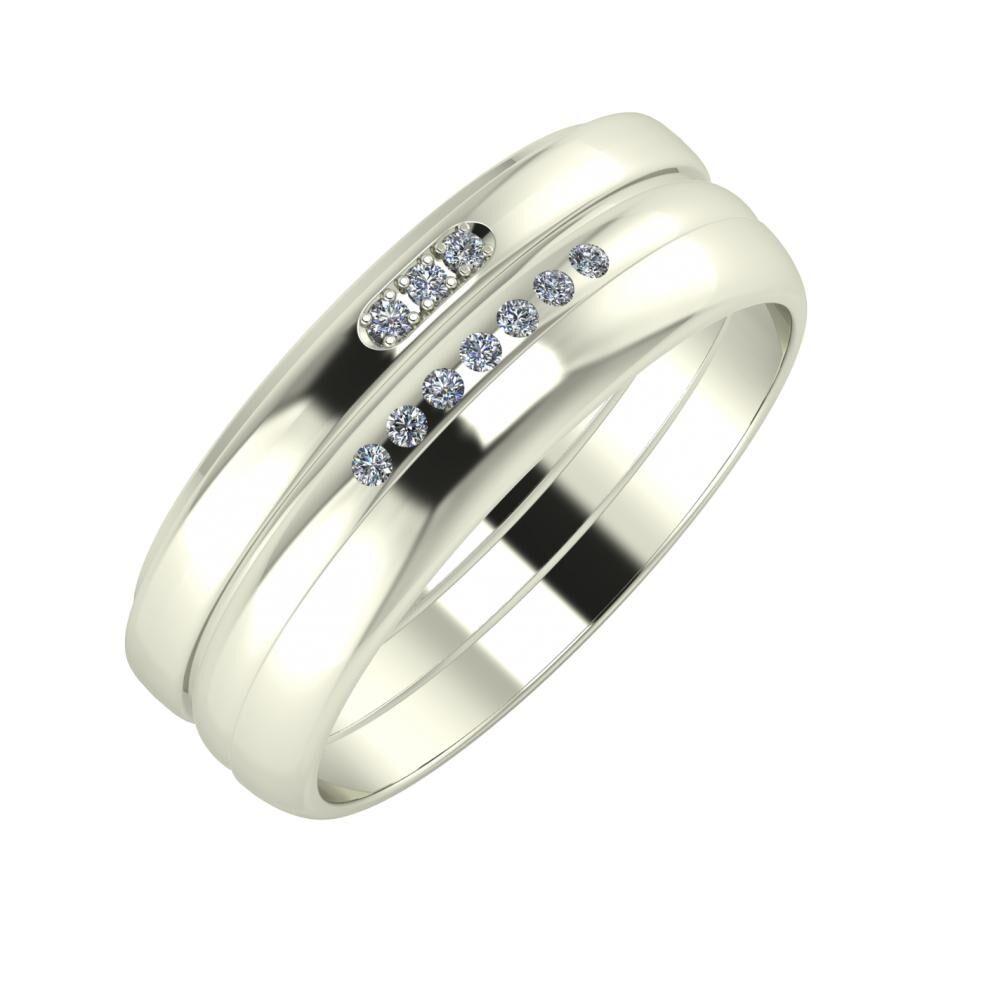Aleszja - Albertina - Ágosta 7mm 18 karátos fehér arany karikagyűrű