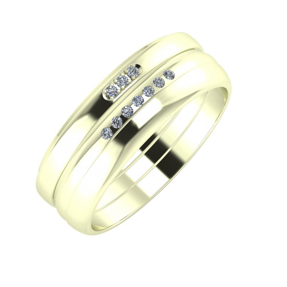 Aleszja - Albertina - Ágosta 7mm 22 karátos fehér arany karikagyűrű