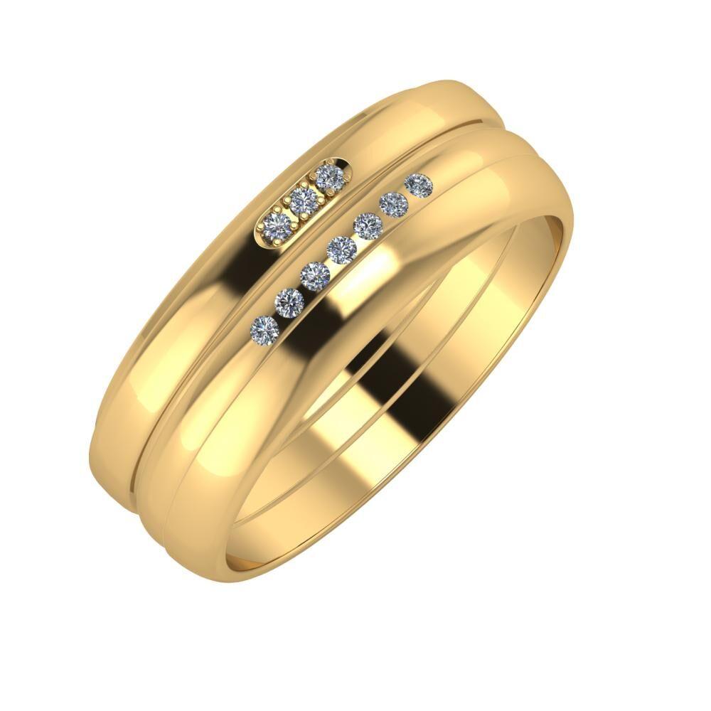Aleszja - Albertina - Ágosta 7mm 22 karátos sárga arany karikagyűrű