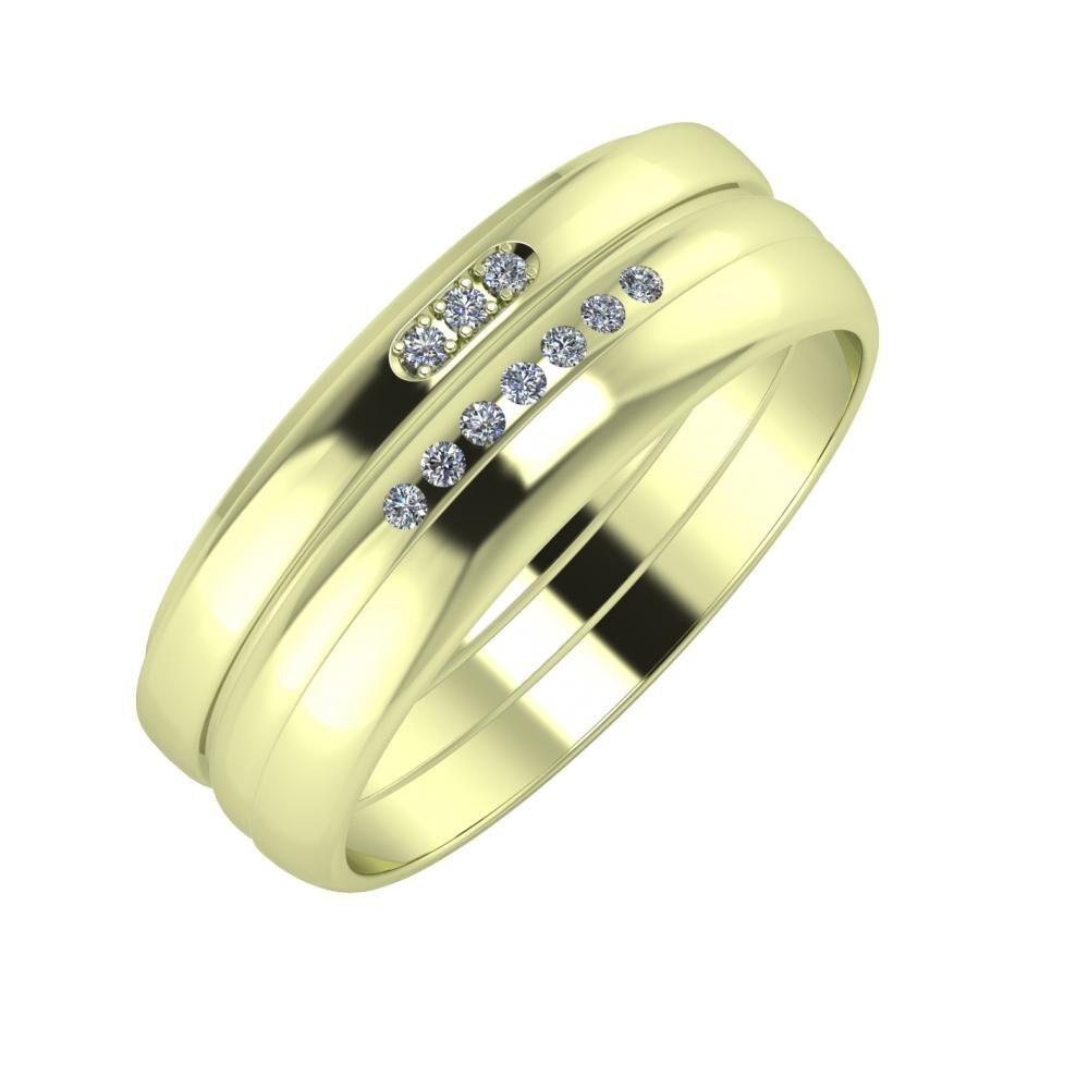 Aleszja - Albertina - Ágosta 7mm 14 karátos zöld arany karikagyűrű