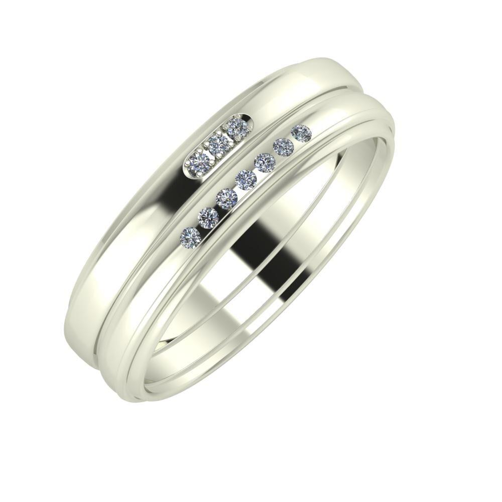 Aleszja - Albertina - Agrippína 6mm 18 karátos fehér arany karikagyűrű