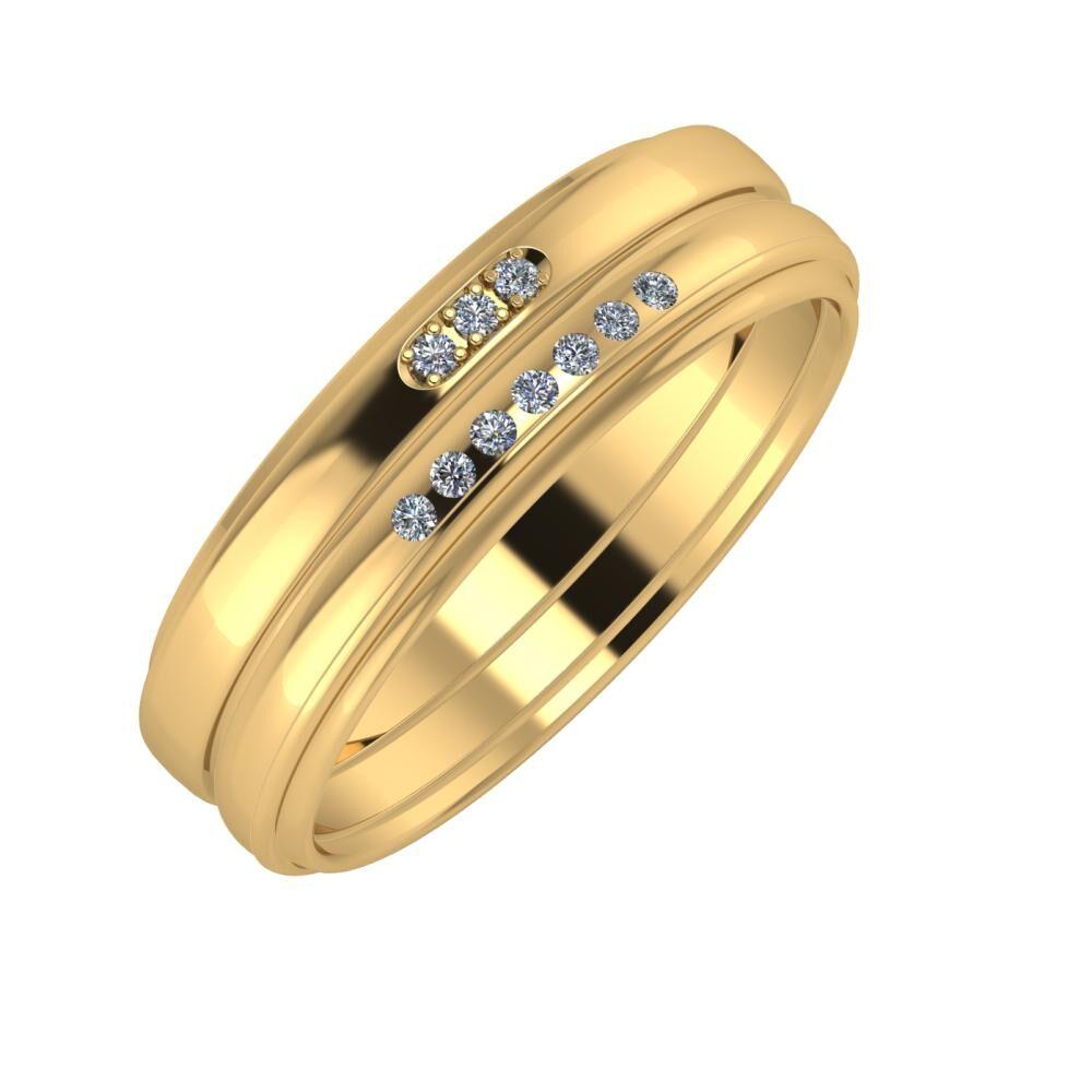 Aleszja - Albertina - Agrippína 6mm 22 karátos sárga arany karikagyűrű