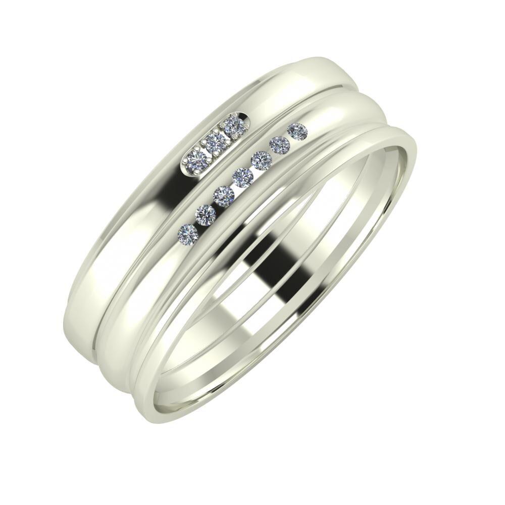 Aleszja - Albertina - Aida 7mm 14 karátos fehér arany karikagyűrű