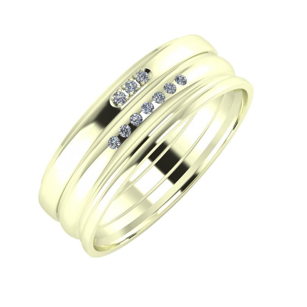 Aleszja - Albertina - Aida 7mm 22 karátos fehér arany karikagyűrű