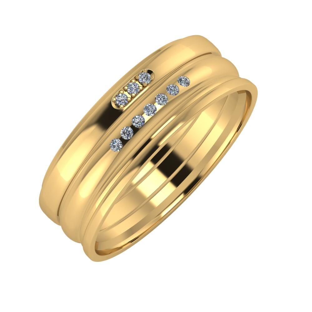 Aleszja - Albertina - Aida 7mm 22 karátos sárga arany karikagyűrű