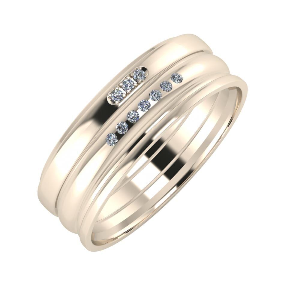 Aleszja - Albertina - Aida 7mm 22 karátos rosé arany karikagyűrű