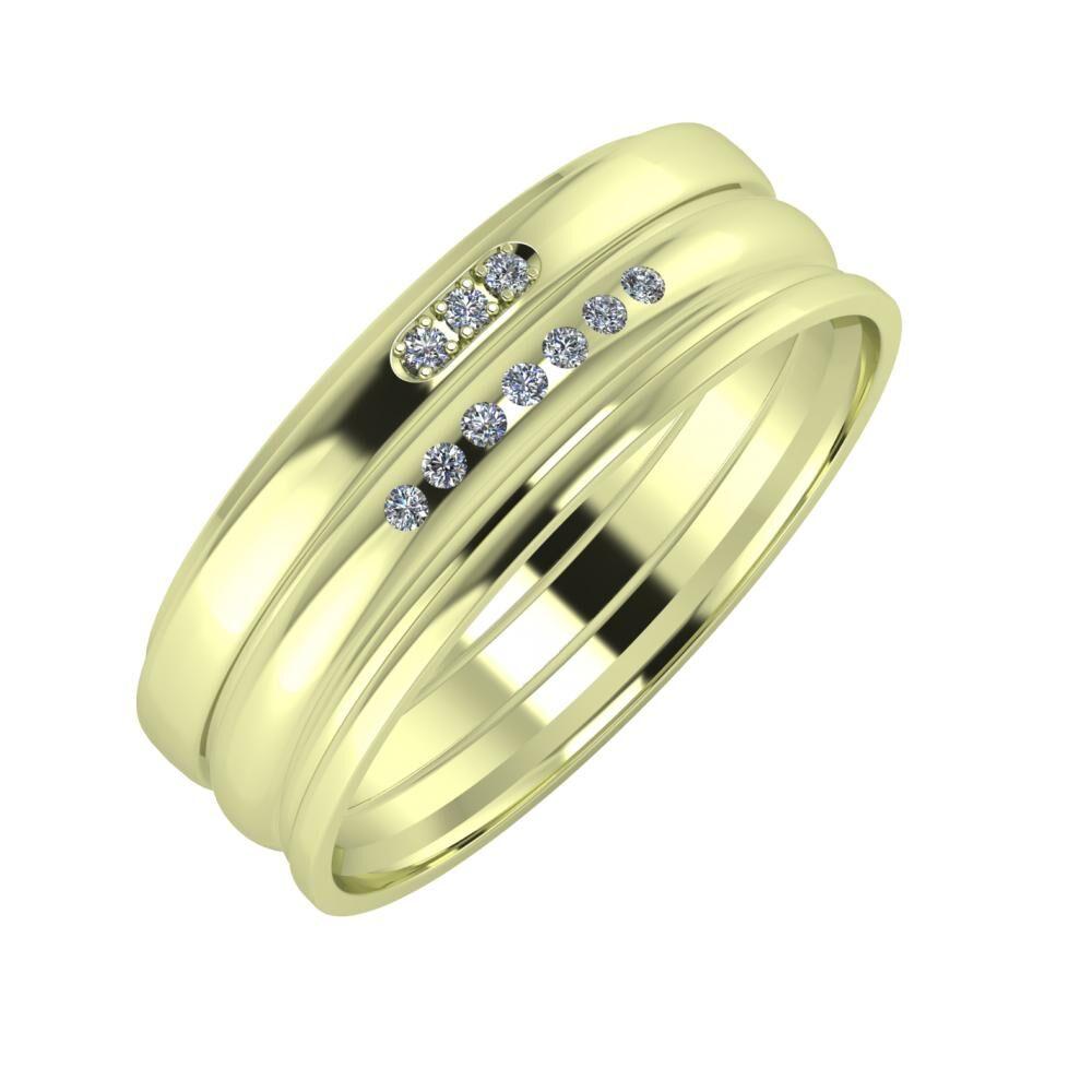 Aleszja - Albertina - Aida 7mm 14 karátos zöld arany karikagyűrű
