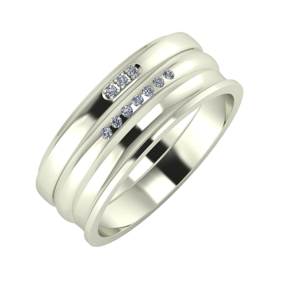 Aleszja - Albertina - Ainó 8mm 18 karátos fehér arany karikagyűrű