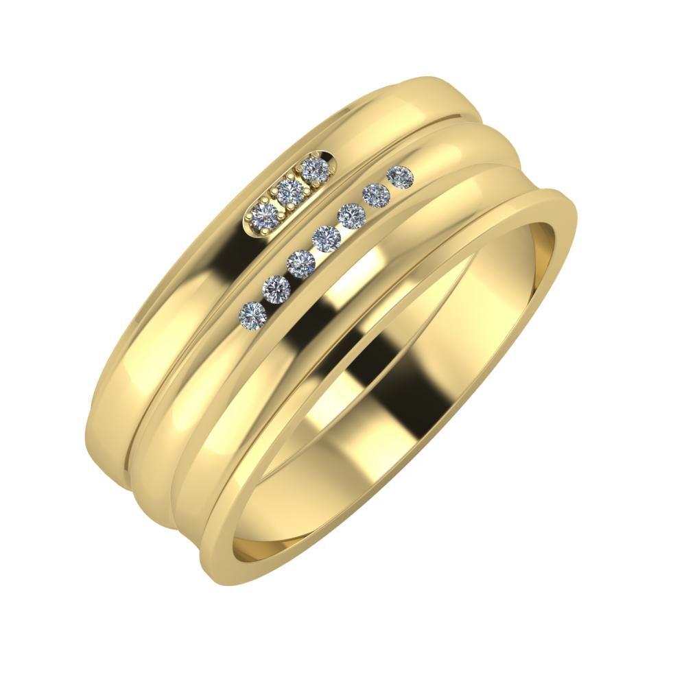 Aleszja - Albertina - Ainó 8mm 14 karátos sárga arany karikagyűrű