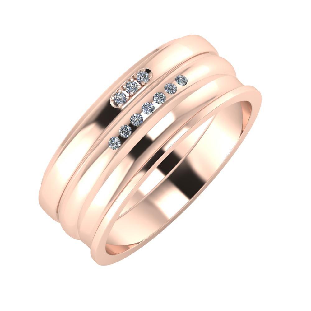 Aleszja - Albertina - Ainó 8mm 14 karátos rosé arany karikagyűrű