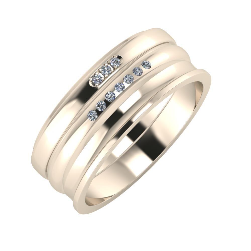 Aleszja - Albertina - Ainó 8mm 22 karátos rosé arany karikagyűrű