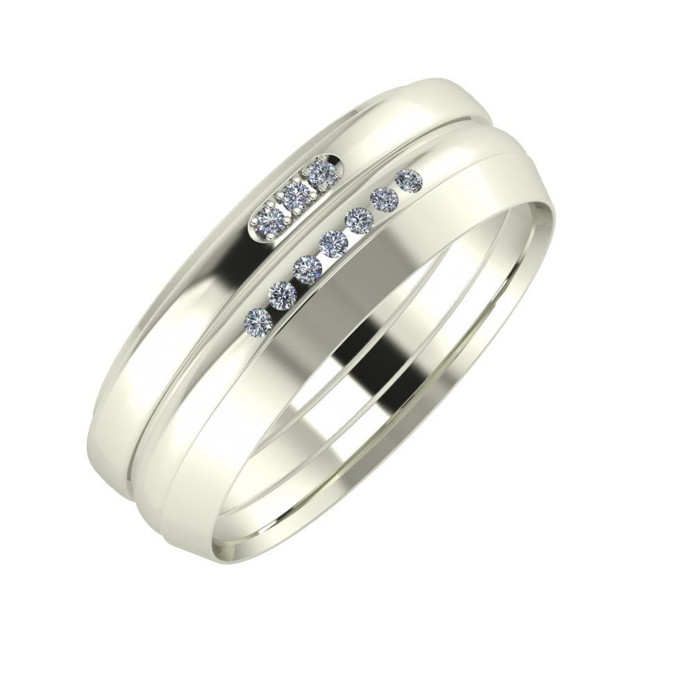 Aleszja - Albertina - Aisah 7mm 14 karátos fehér arany karikagyűrű