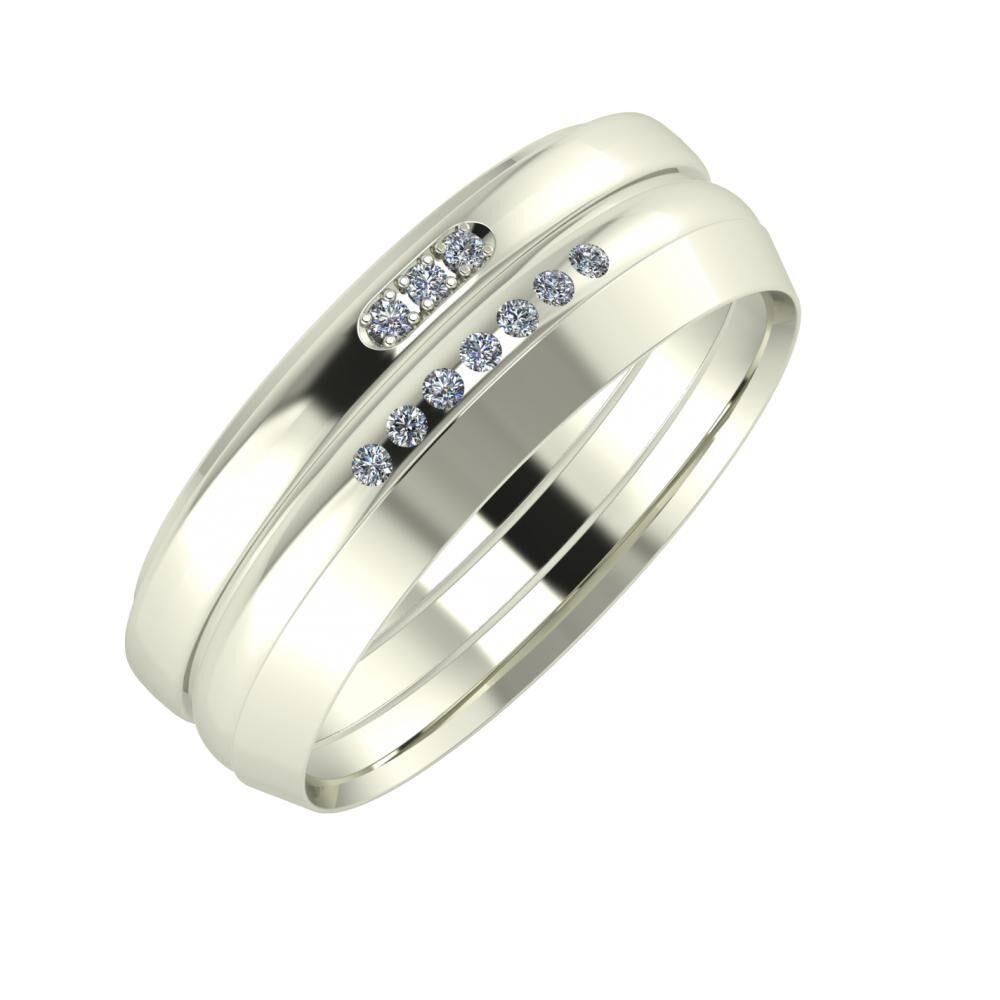 Aleszja - Albertina - Aisah 7mm 18 karátos fehér arany karikagyűrű