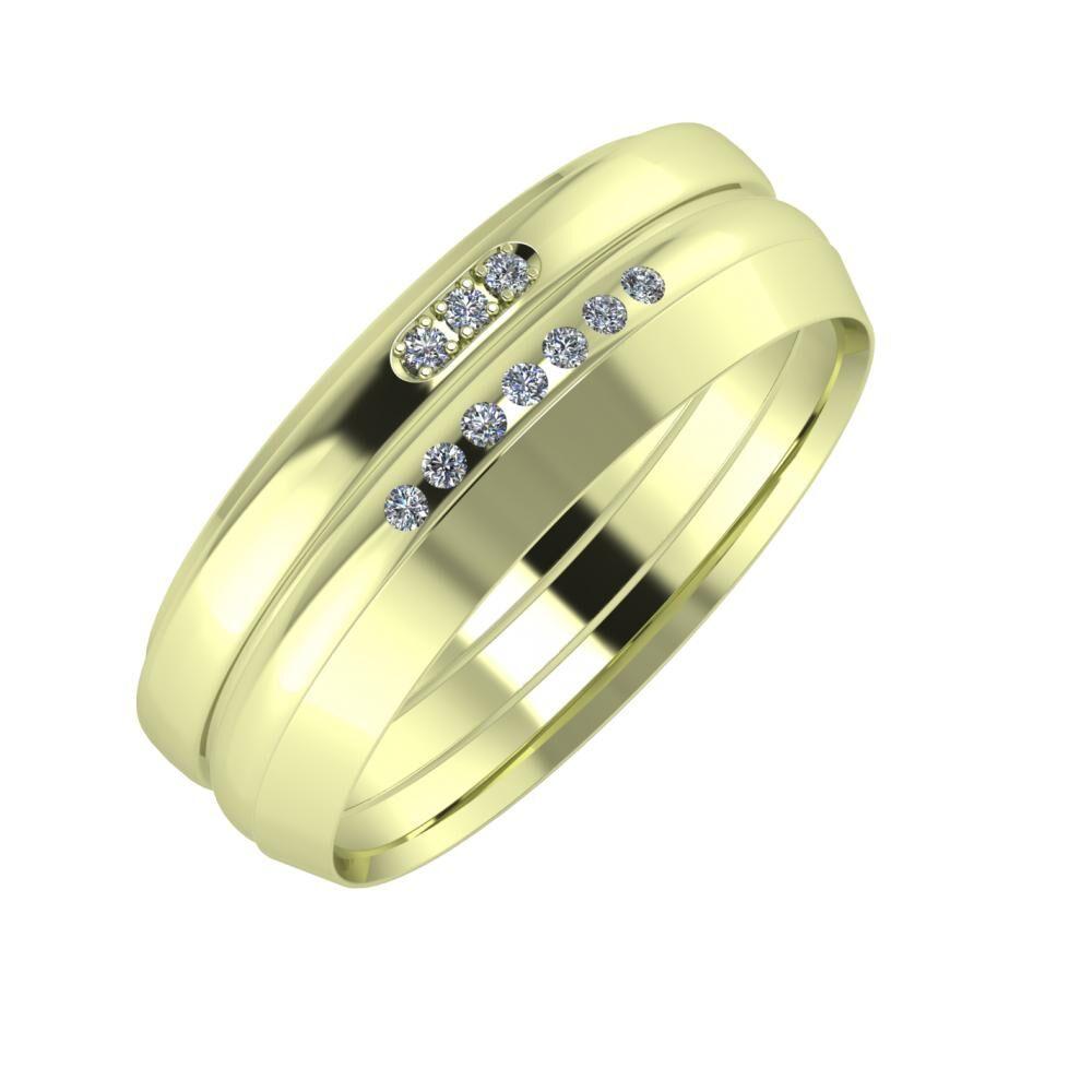 Aleszja - Albertina - Aisah 7mm 14 karátos zöld arany karikagyűrű